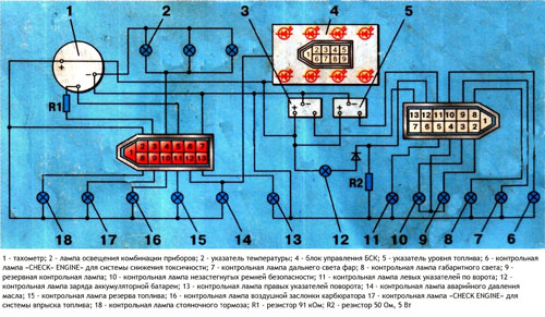 Схема комбинации приборов